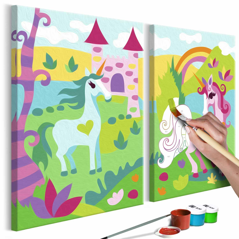 Artgeist diy fairytale unicorns maleri - hvidt lærred, inkl. maling og pensel (23x100) fra artgeist fra boboonline.dk