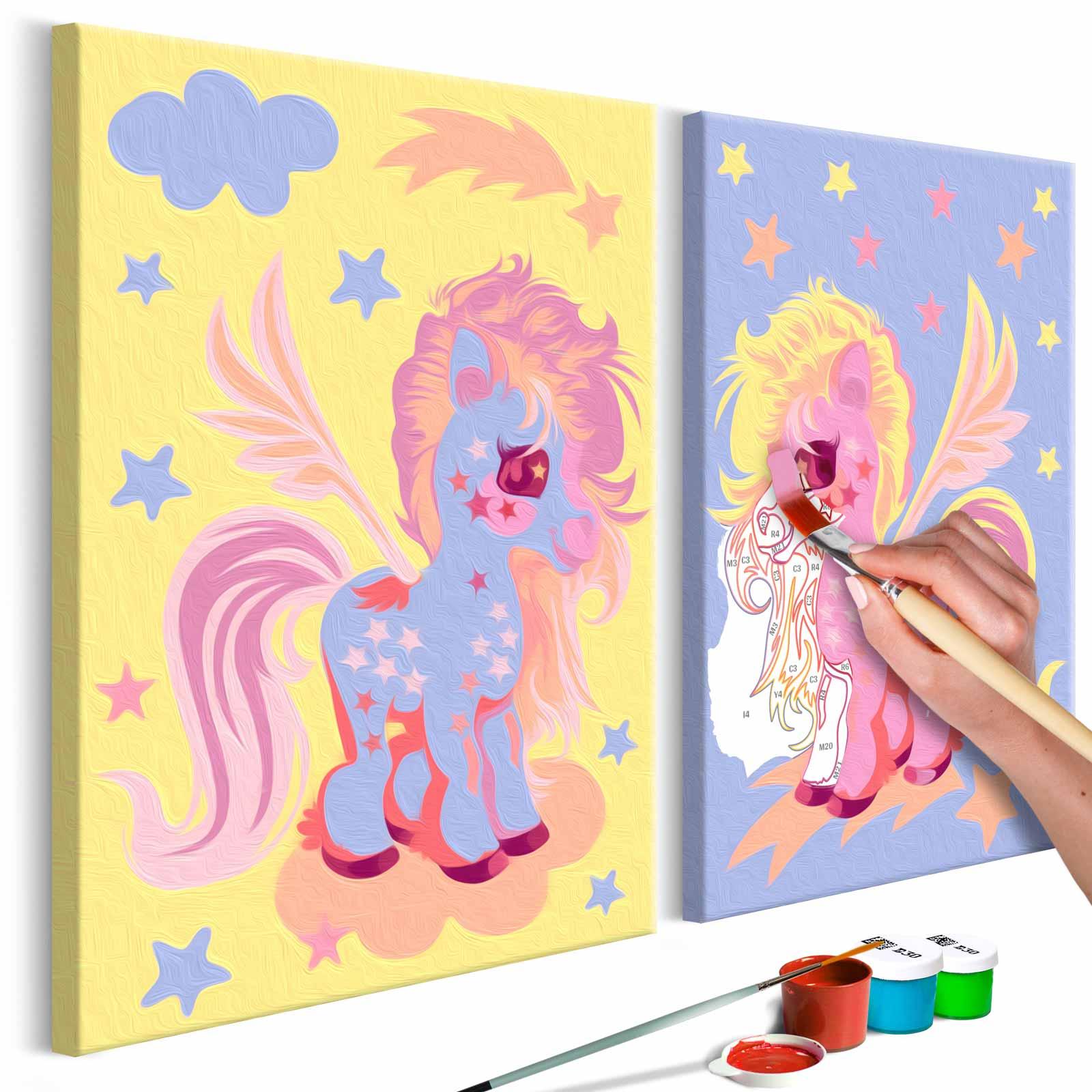 artgeist – Artgeist diy magical unicorns maleri - hvidt lærred, inkl. maling og pensel (23x120) på boboonline.dk