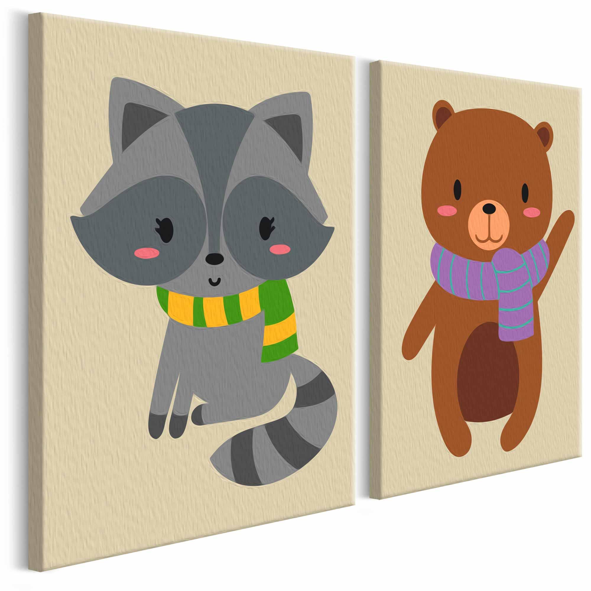 artgeist Artgeist diy raccoon & bear maleri - hvidt lærred, inkl. maling og pensel (h: 23cm) på boboonline.dk
