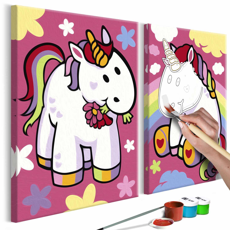 artgeist – Artgeist diy unicorns maleri - hvidt lærred, inkl. maling og pensel (h: 23cm) fra boboonline.dk
