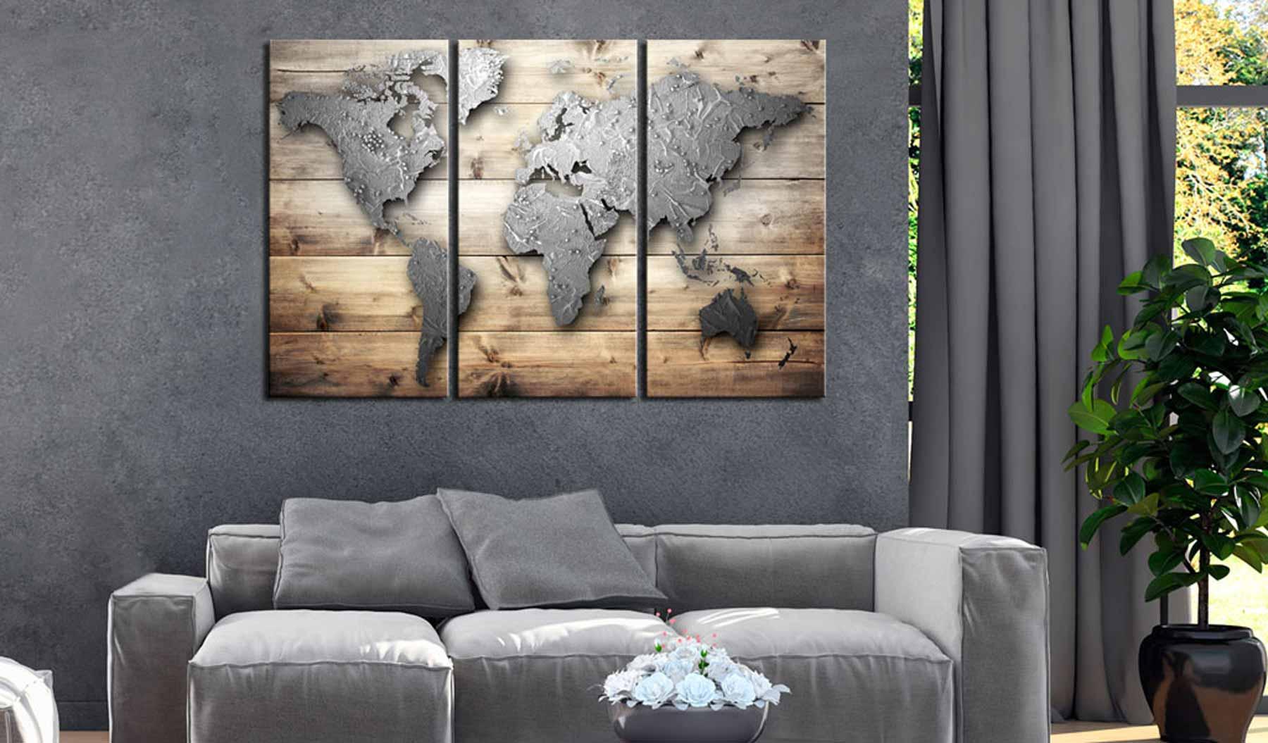 ARTGEIST Doors to the World verdenskort billede - grå/natur print på kork (80x120)