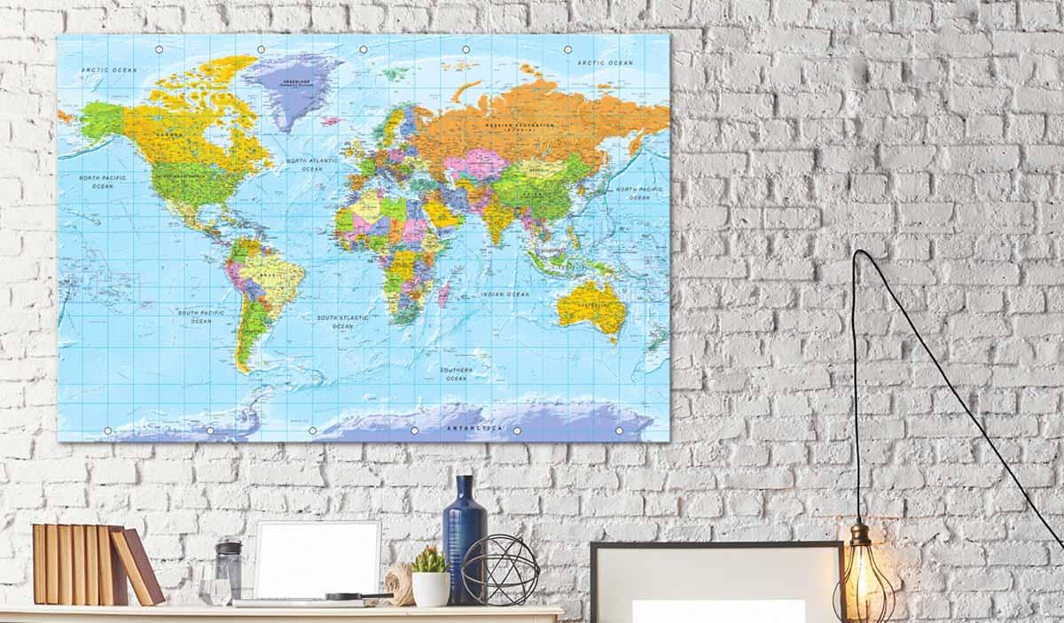 ARTGEIST Orbis Terrarum verdenskort billede - multifarvet print på kork, 2 størrelser