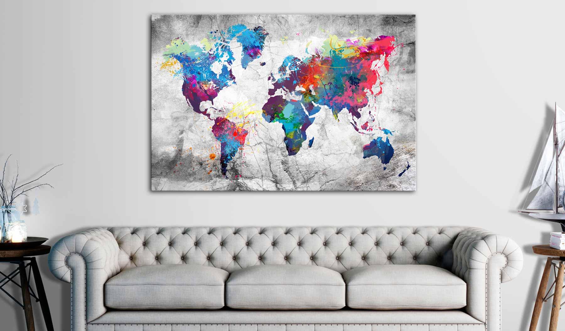 ARTGEIST Grey Style verdenskort billede - multifarvet print på kork, 2 størrelser