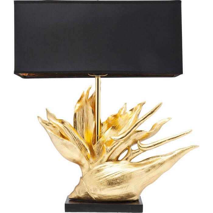 kare design Kare design tropical flower bordlampe - guldfarvet stål og sort stof, strelitzia-plante fra boboonline.dk