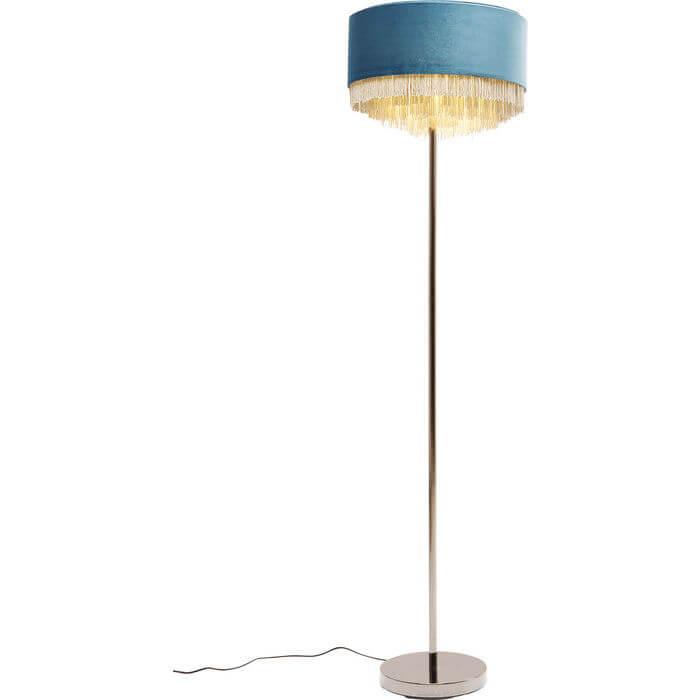 kare design – Kare design tassel gulvlampe - blå stof m. stål, rundt (ø;40) fra boboonline.dk