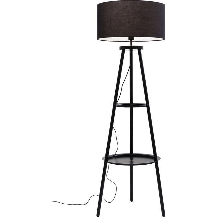 kare design Kare design tripot gulvlampe - sort træ, stål og stof, m. hylder fra boboonline.dk
