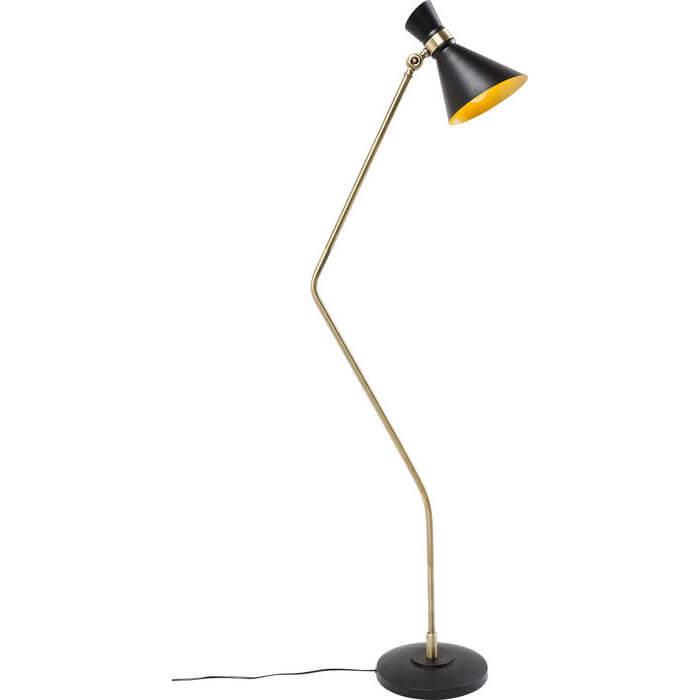 Kare design skagen gulvlampe - messingbelagt og sort stål og sort plast fra kare design på boboonline.dk
