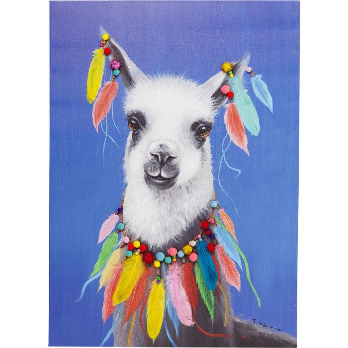 Image of   KARE DESIGN Billede Touched Lama Pom Pom 100 x 70 cm