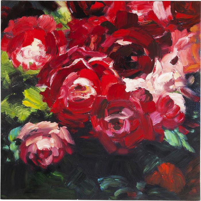 Billede af KARE DESIGN Oliemaleri, Roses 100 x 100 cm