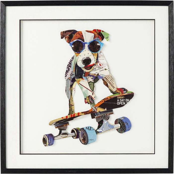 Image of   KARE DESIGN Billede, Frame Art Skater Dog 65 x 65 cm