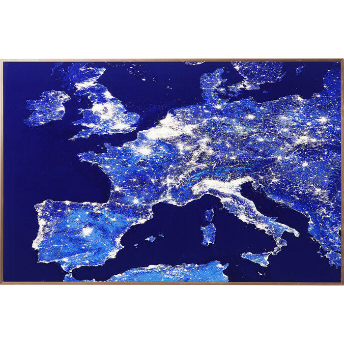 Image of   KARE DESIGN Billede, Frame Alu Europe At Night 60 x 90 cm