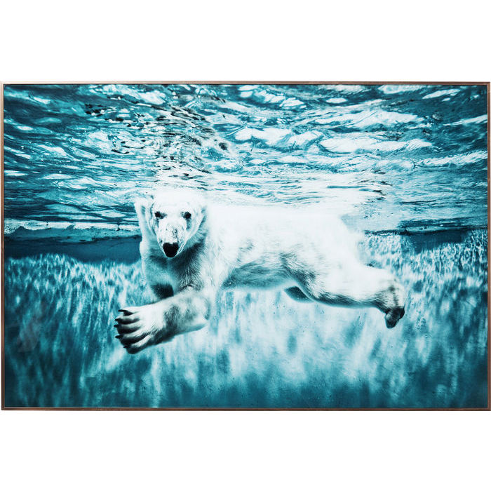 Image of   KARE DESIGN Billede, Frame Alu Swimming Polar Bear 80 x 120 cm