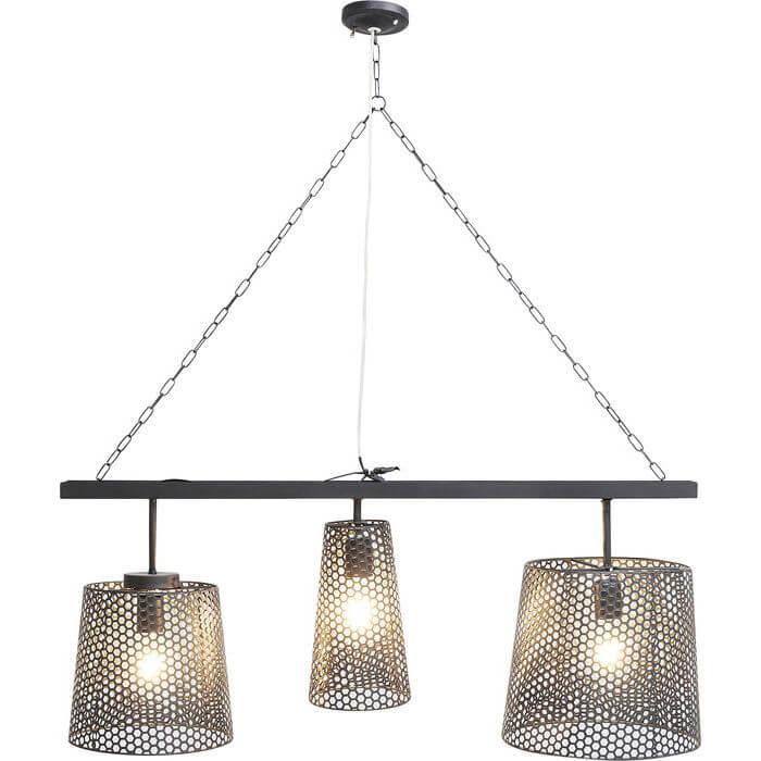 Kare Design Black Tre Loftslampe - Sort Stål M. Mønster, 3 Lamper Belysning