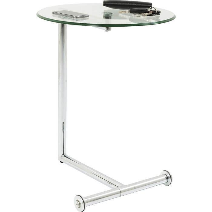 kare design – Kare design easy living sidebord - glasplade og forkromet stål, rundt (ø:46) fra boboonline.dk