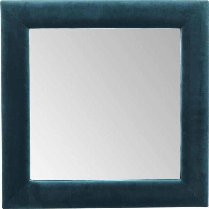 Kare design velvet spejl - blå poly-velour stof og spejlglas, kvadratisk (100x100) fra kare design på boboonline.dk