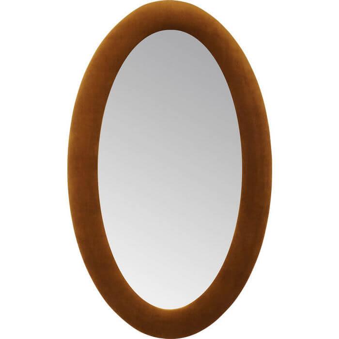 kare design Kare design velvet spejl - brun poly-velour stof og spejlglas, oval (150x90) på boboonline.dk
