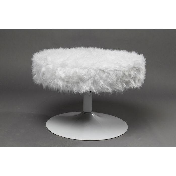 KARE DESIGN Taburet, Rotante Hvid Fur Ø60 cm