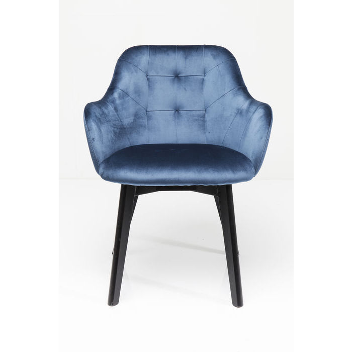 Image of   KARE DESIGN Stol med armlæn Lady Velvet Stitch Royal - Petroleumsblå