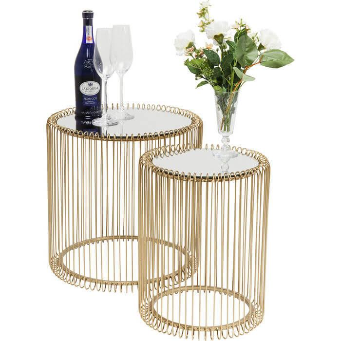 kare design – Kare design wire sidebord - guldfarvet stål og spejlglas, 2 borde fra boboonline.dk