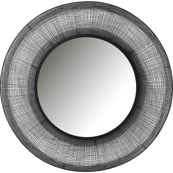 Kare design mesh spejl - spejlglas, stål og grå træ, rundt (ø:100) fra kare design på boboonline.dk