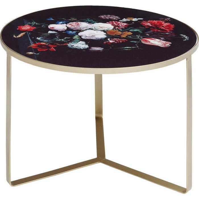 kare design Kare design flores sidebord - malet glas m. stålben, rundt (ø:55), fra boboonline.dk
