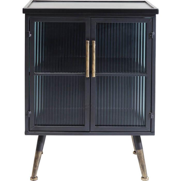 Kare design la gomera kabinet - sort træ og stål, m. 2 glaslåger fra kare design på boboonline.dk