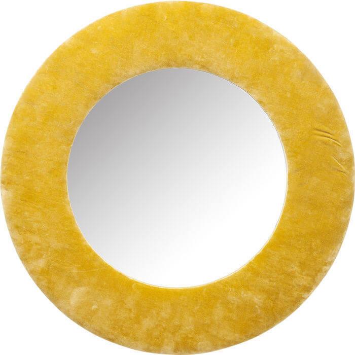Kare design cherry spejl - gult bomuld og spejlglas, rundt (ø:80) fra kare design på boboonline.dk