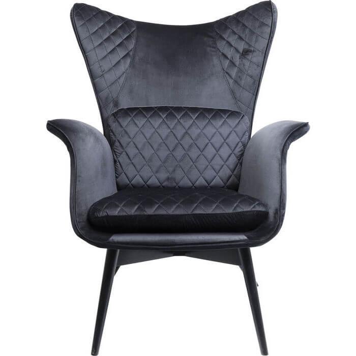 Kare design tudor lænestol - sort velour-polyester og træben, m. armlæn fra kare design fra boboonline.dk