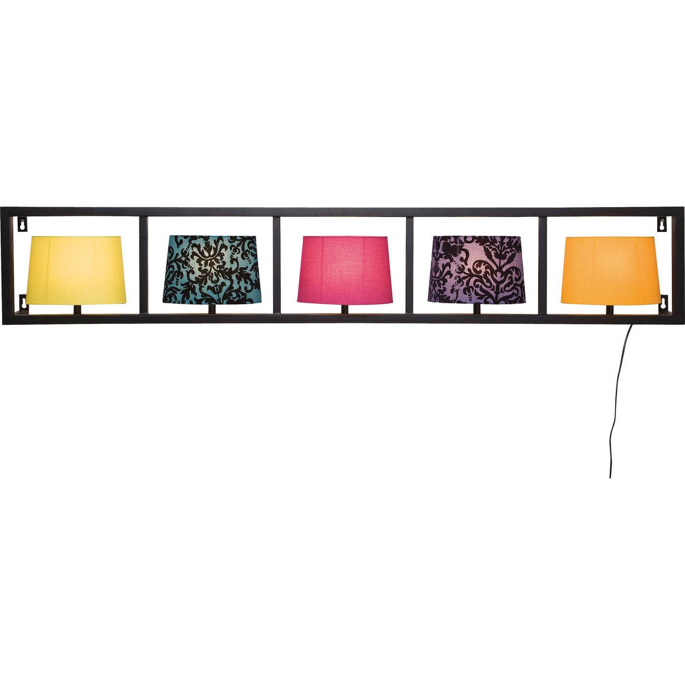 kare design – Kare design parecchi horizontal black væglampe - multifarvet bomuld/sort stål på boboonline.dk
