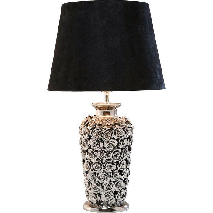 Kare design bordlampe i velour og sølv, rose multi