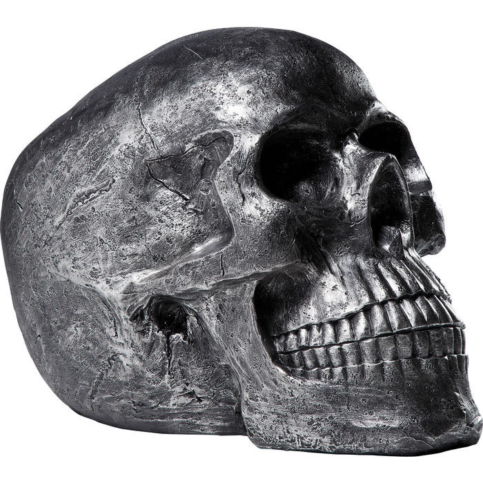 Image of   Kare Design Figur, Head Skull Sølv Antique