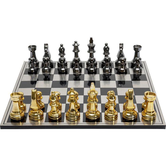 kare design – Kare design skakspil - guld/sølv polyresin og stål/mdf, kvadratisk (60x60) fra boboonline.dk