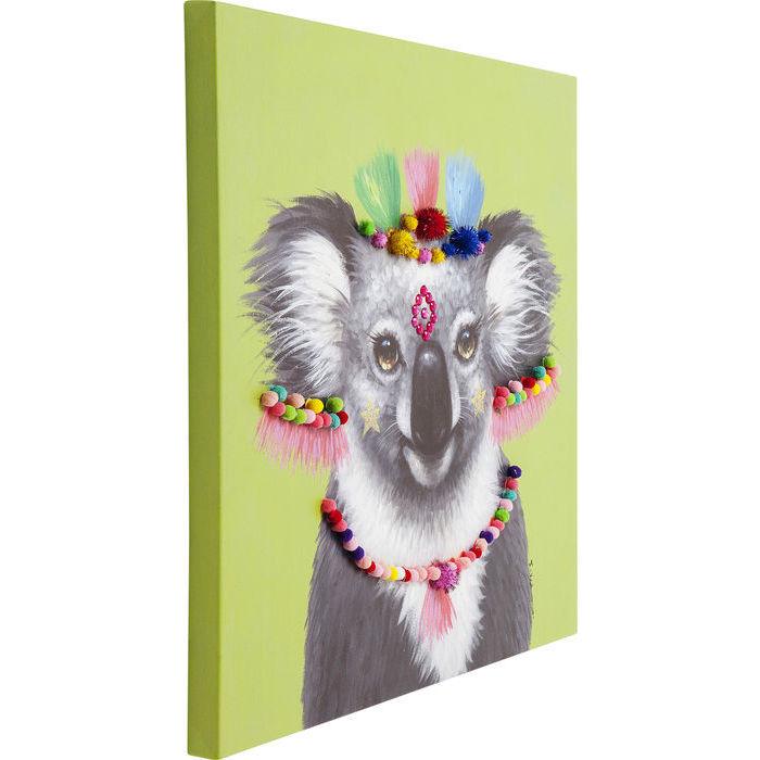 Image of   KARE DESIGN Billede, Touched Koala Pom Pom 70 x 70 cm