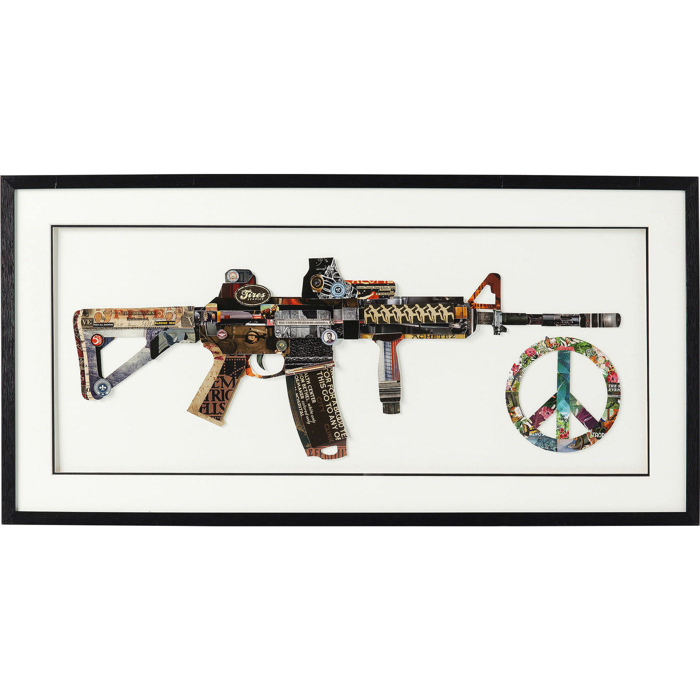 Image of   KARE DESIGN Art Peace No War billede - multifarvet 3D papir/klart glas, håndlavet (50x100)