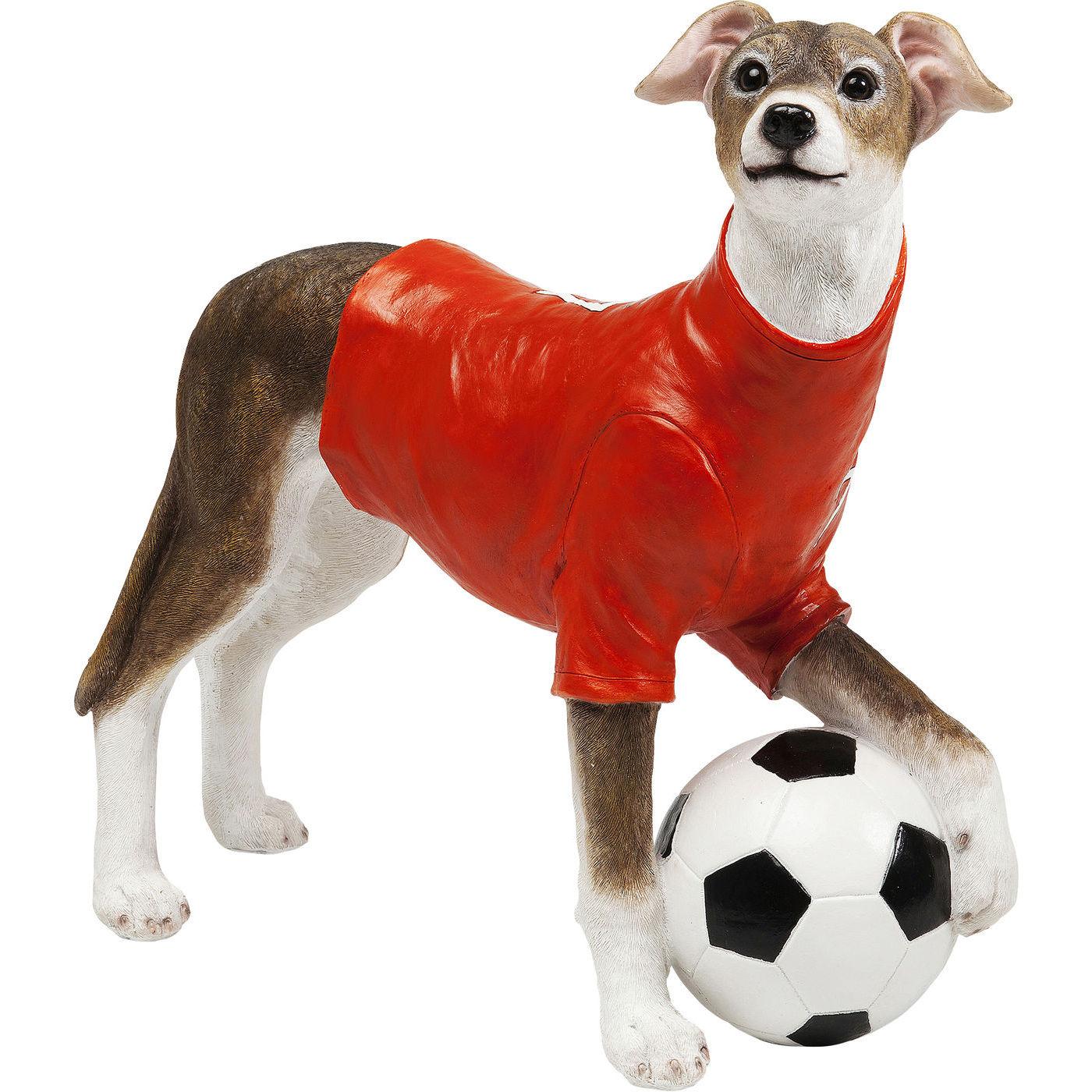 Image of   KARE DESIGN Soccer Dog sparebøsse - brun, hvid, rød/polyresin