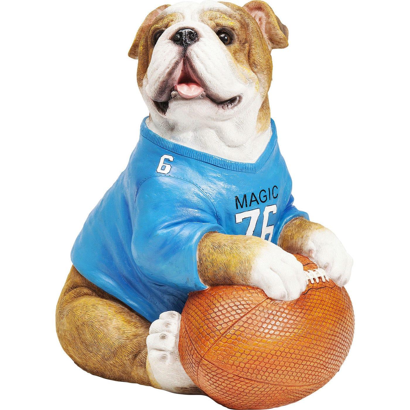 Image of   KARE DESIGN Football Dog sparebøsse - blå, brun, hvid orange/polyresin