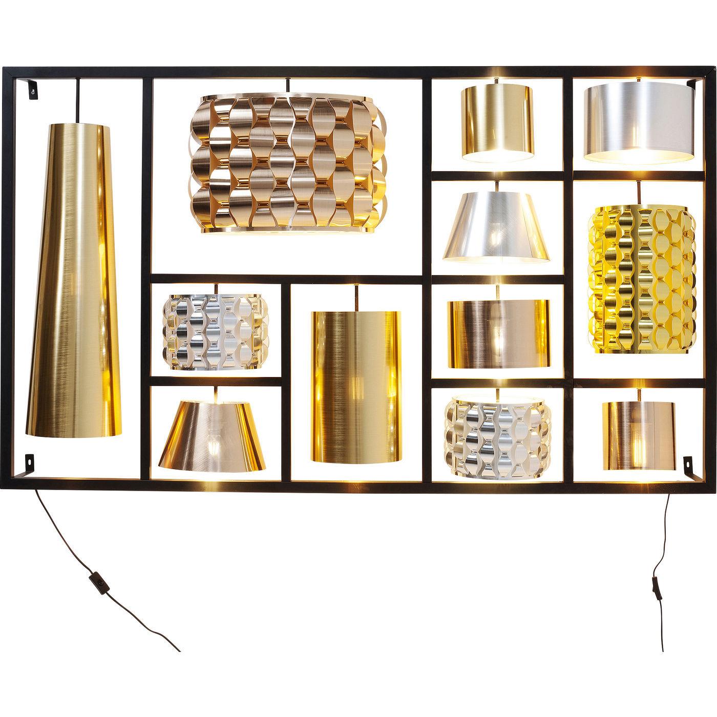 KARE DESIGN Parecchi Glamour Black Big væglampe – guld/sølv/bronze plastik og sort stål