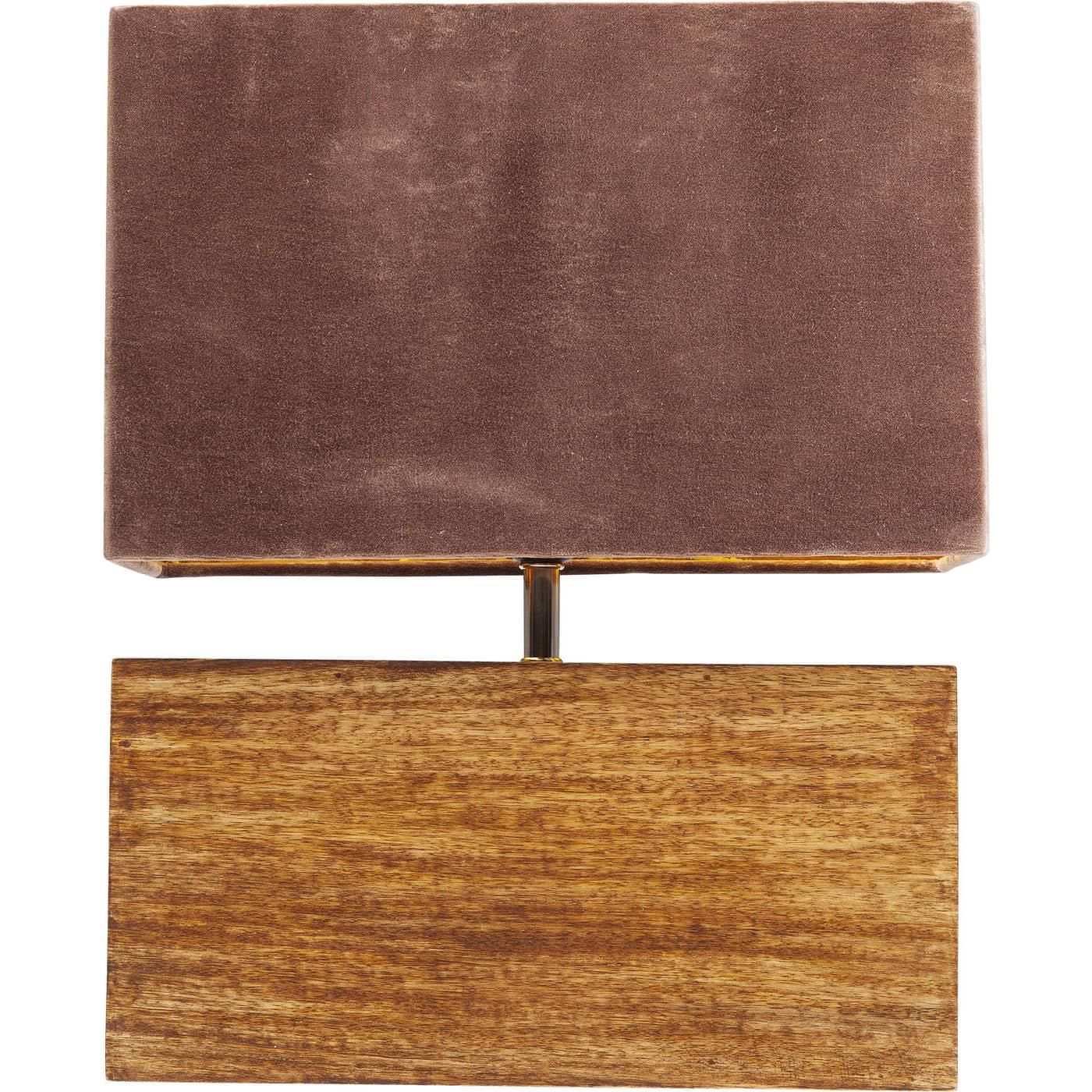 Kare design rectangular wood mocca bordplampe - valnøddebrunt mangotræ/mokka polyester