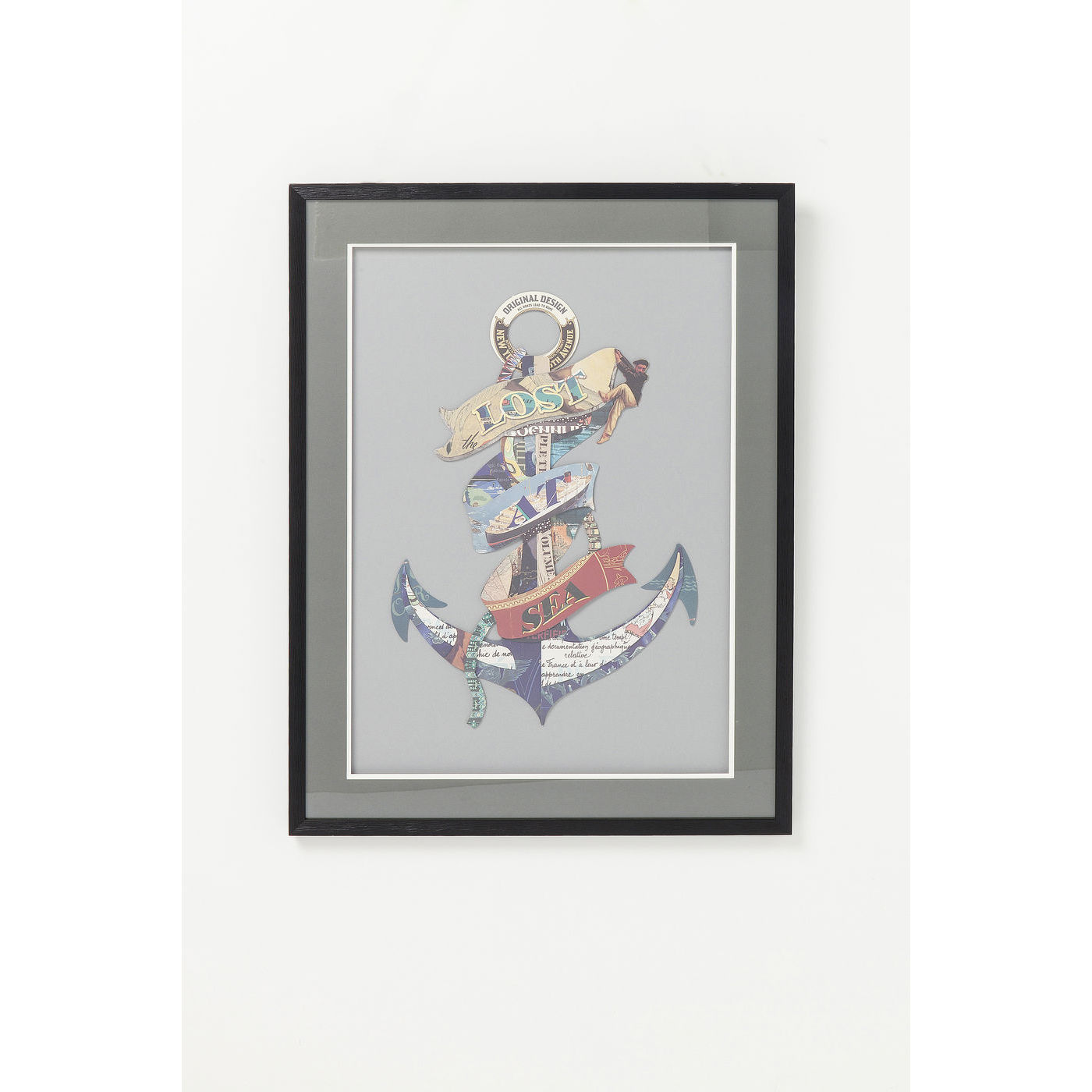 Image of   KARE DESIGN Art Anchor billede - multifarvet papir/klart glas, håndlavet 3D collage (80x60)
