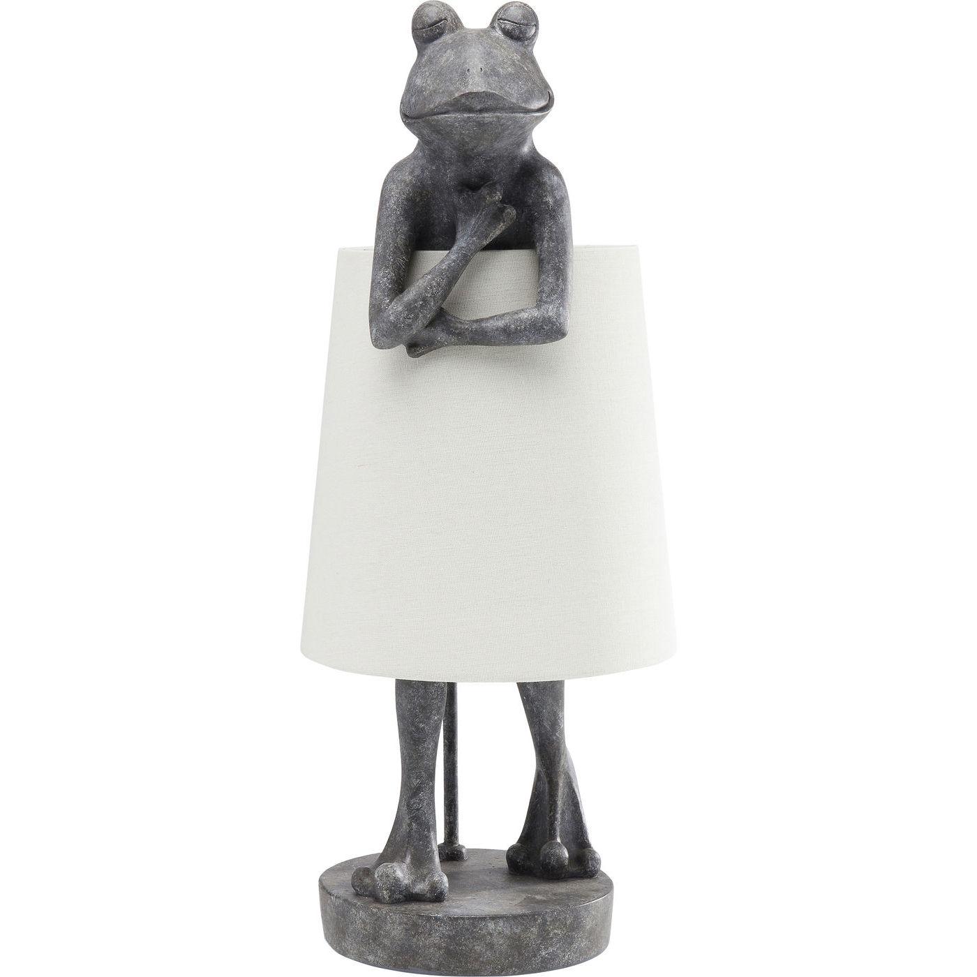 Kare design animal frog grey bordlampe - hvidt hør/grå polyresin og stål fra kare design på boboonline.dk