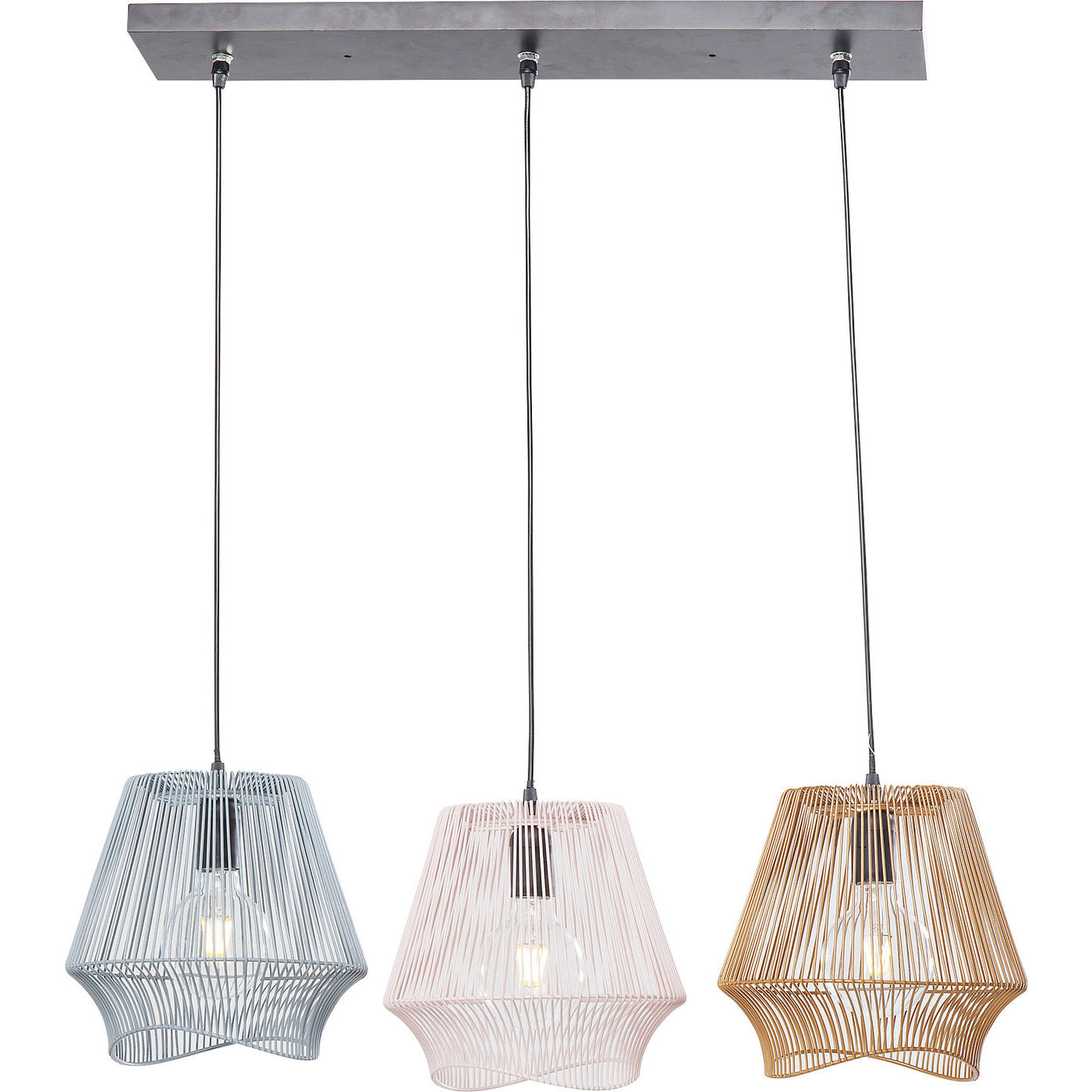 kare design – Kare design ischia dining tre loftlampe - grå/hvid/guld stål på boboonline.dk