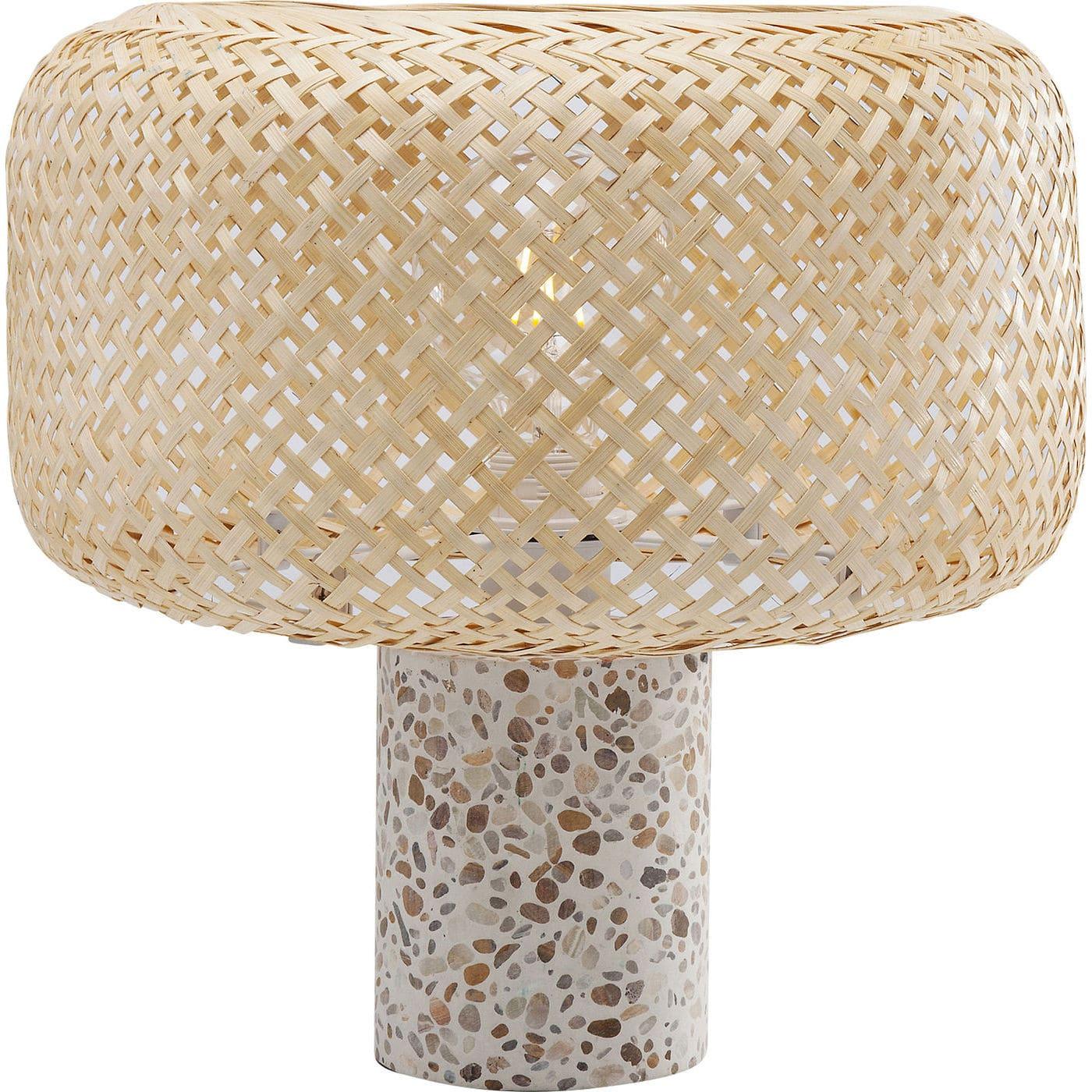 Kare design terrazzo nature bordlampe - multifarvet beton/natur rattan