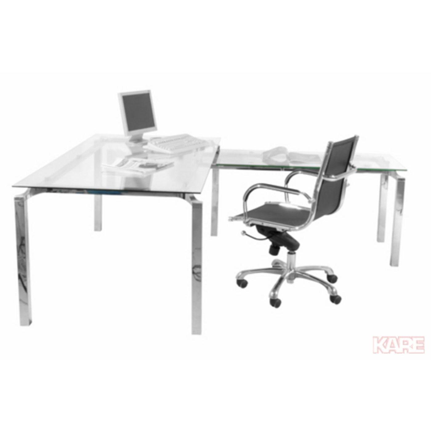KARE DESIGN Lorenco Corner Chrome skrivebord - klart glas/sølv stål