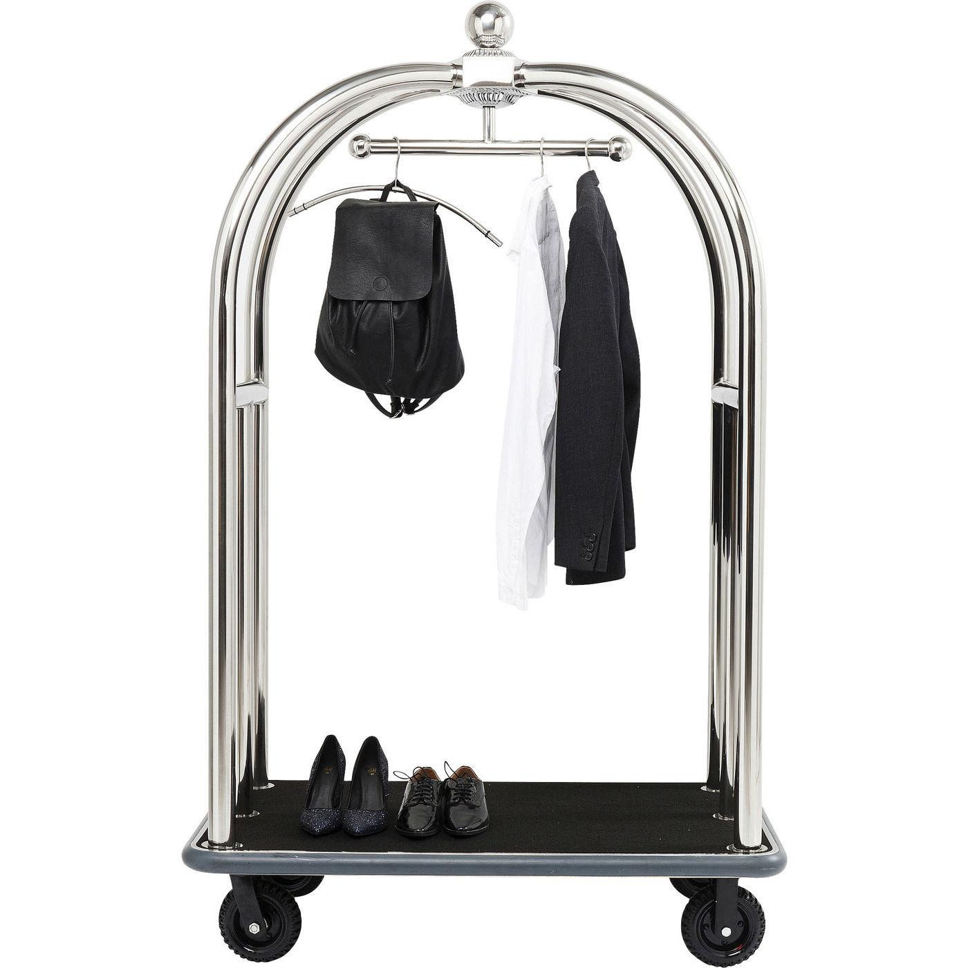 KARE DESIGN VIP Baggage Trolley Vegas Silver garderobestativ – sølv stål, m. hylde og hjul