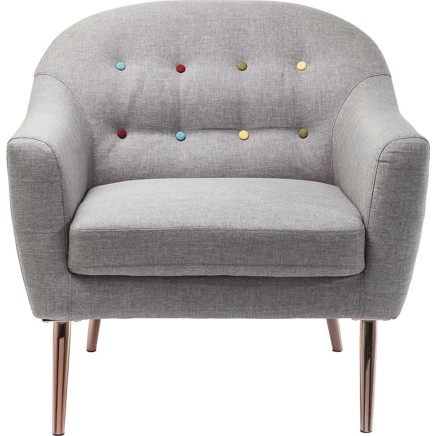 Kare design fun tastic lænestol - gråt stof og bronze stål, m. armlæn fra kare design fra boboonline.dk