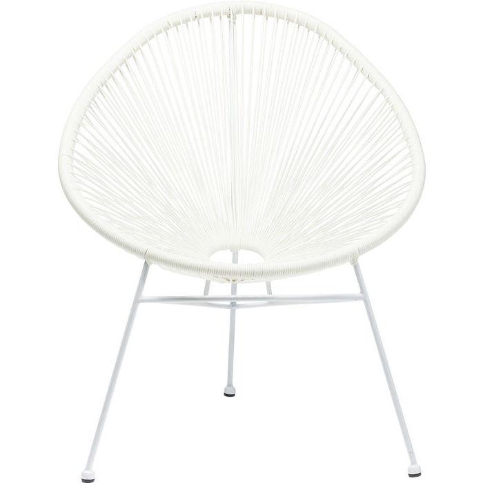 Kare design havestol, spaghetti hvid