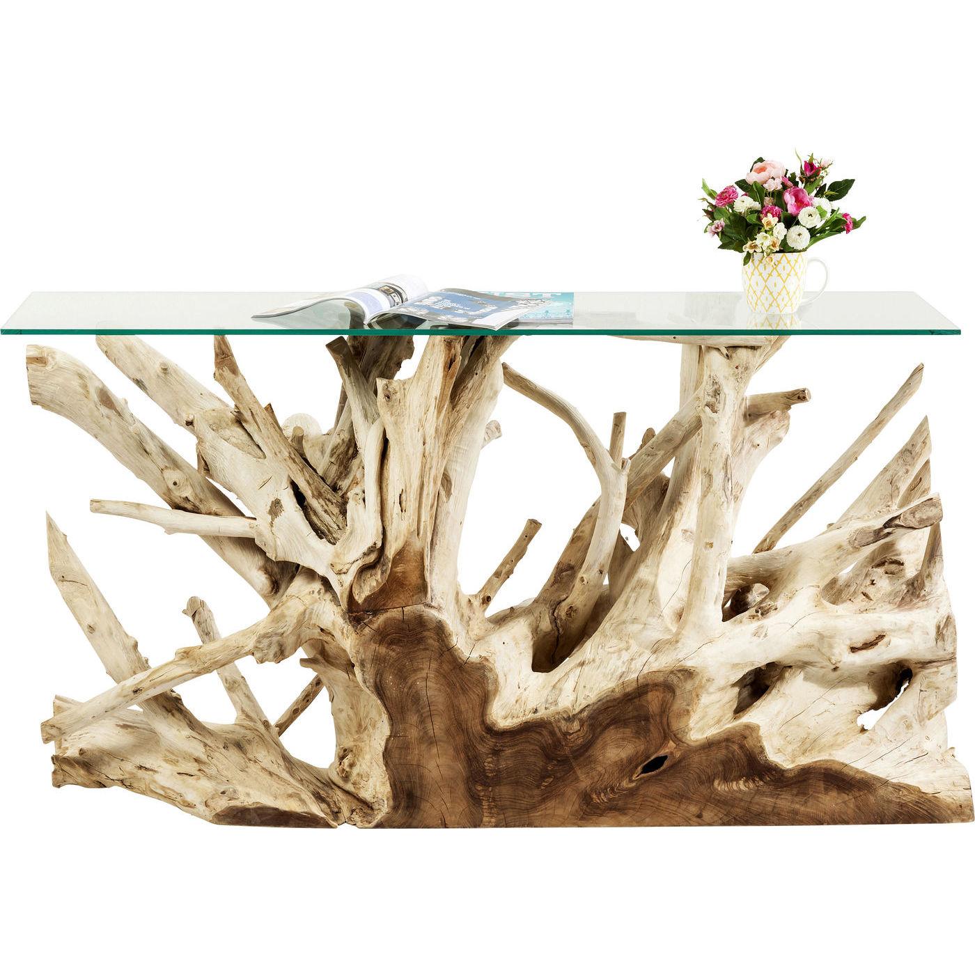 Image of   KARE DESIGN Roots konsolbord - klart glas/natur teaktræ, unik (150x40)