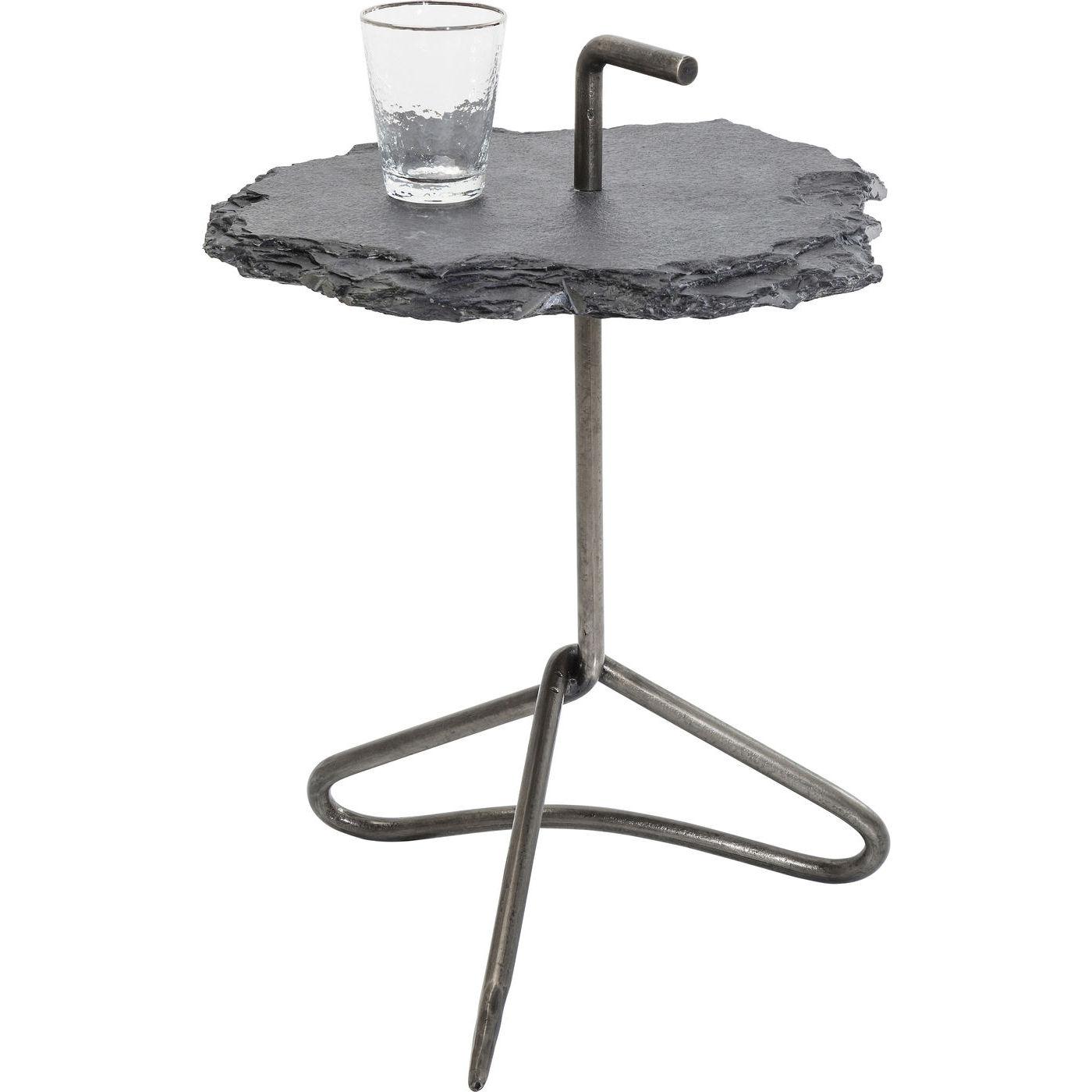 KARE DESIGN Vulcano Handle sidebord - grå natursten/stål, rundt (Ø48)