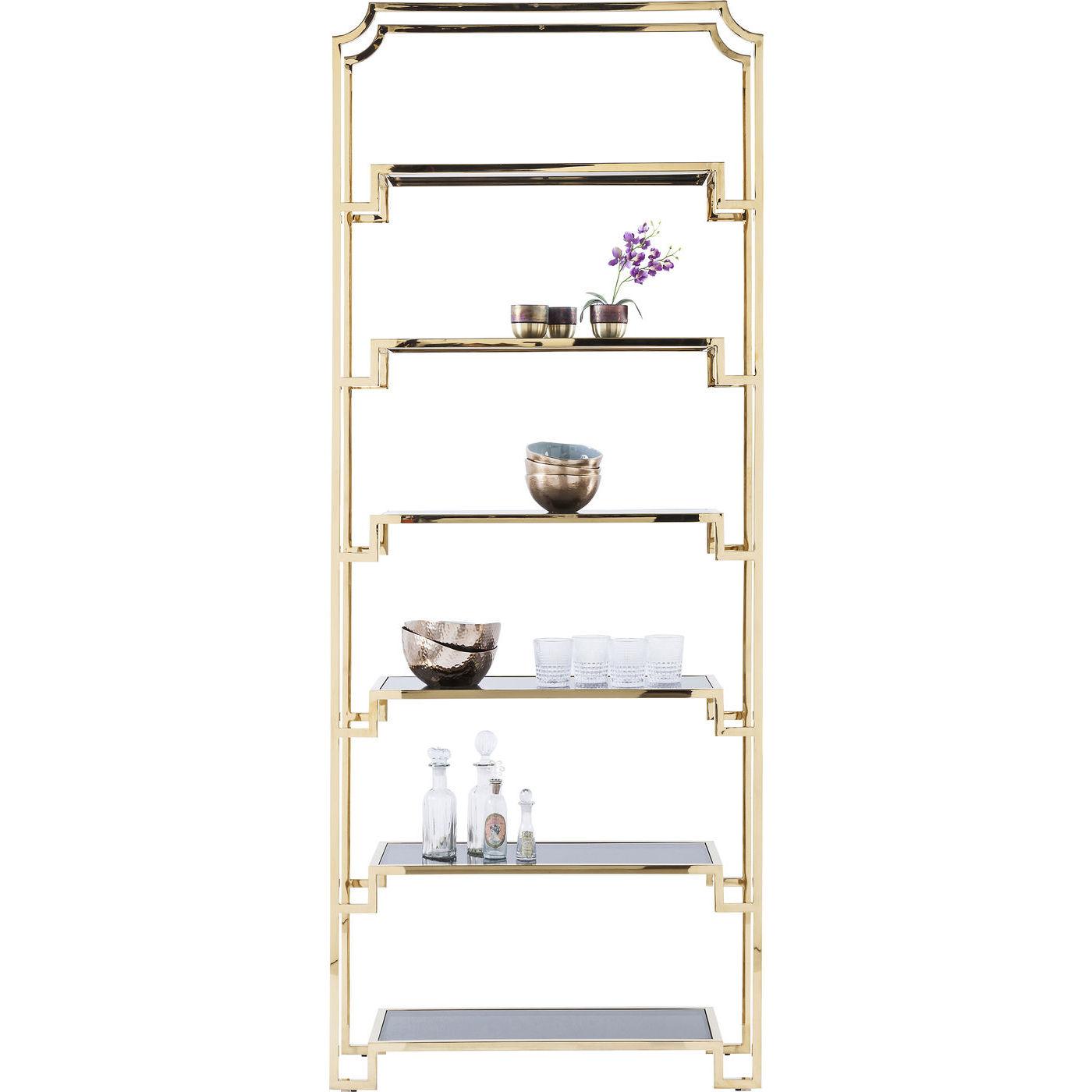 Image of   KARE DESIGN Gold Rush reol - glas/guld stål, m. 6 hylder