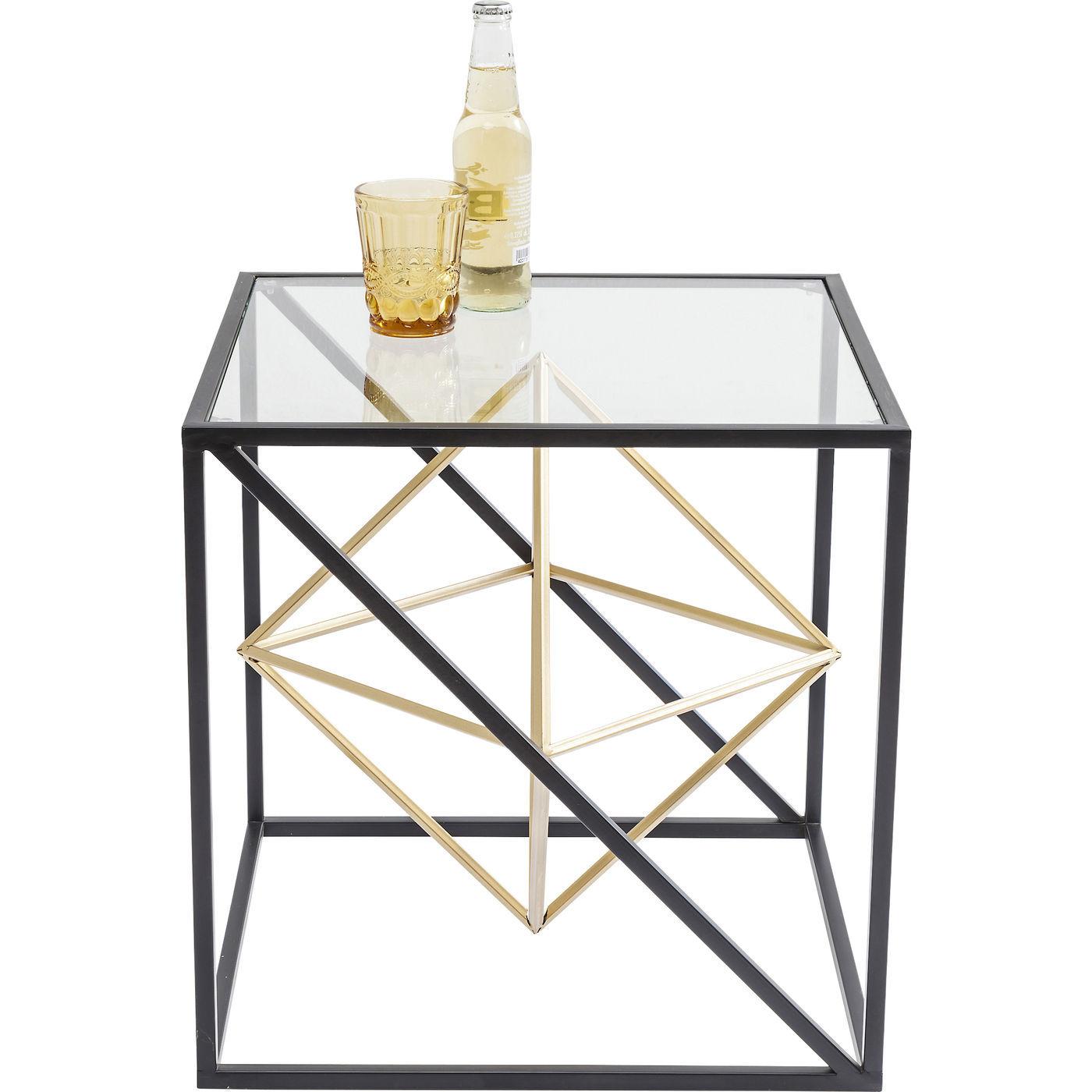 Kare design prisma sidebord - klart glas/guld stål, kvadratisk (45x45) fra kare design fra boboonline.dk